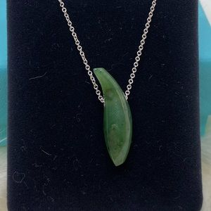 Tiffany & Co. Jade Gehry Fish Pendant Necklace